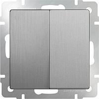 Выключатель Werkel двухклавишный проходной серебряный рифленый WL09-SW-2G-2W 4690389085154