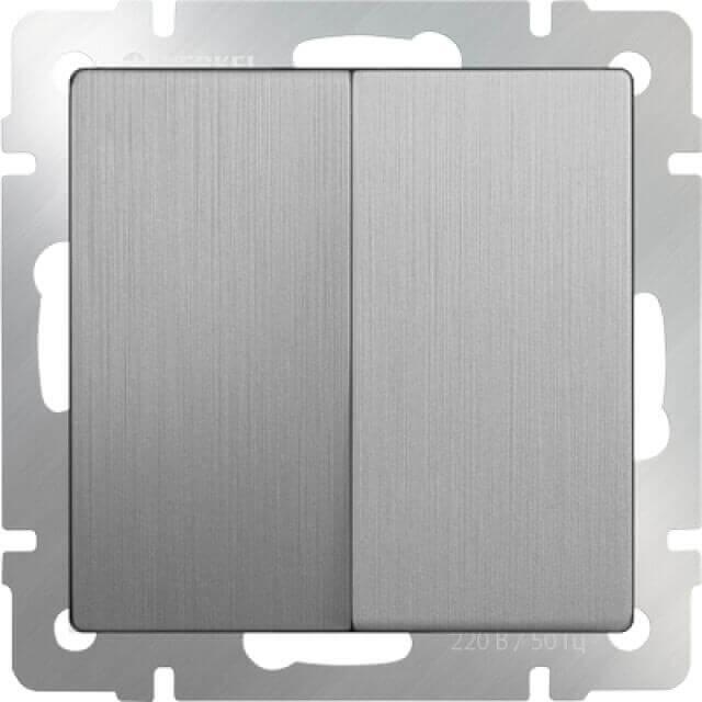 Выключатель Werkel двухклавишный серебряный рифленый WL09-SW-2G 4690389085147