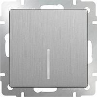 Выключатель Werkel одноклавишный с подсветкой серебряный рифленый WL09-SW-1G-LED 4690389085130