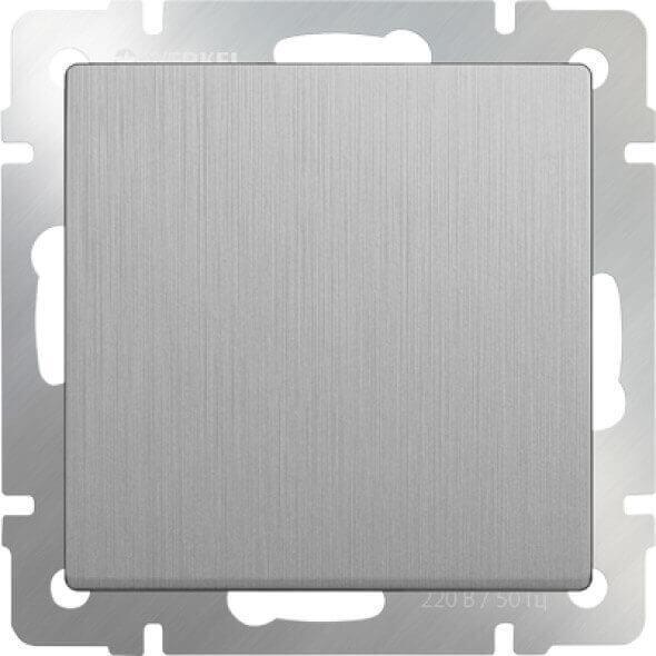 Выключатель Werkel одноклавишный серебряный рифленый WL09-SW-1G 4690389085109