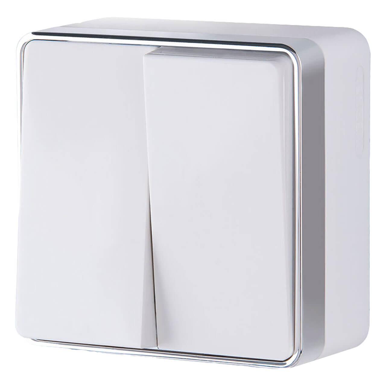 Выключатель Werkel двухклавишный Gallant белый WL15-03-01 4690389102059