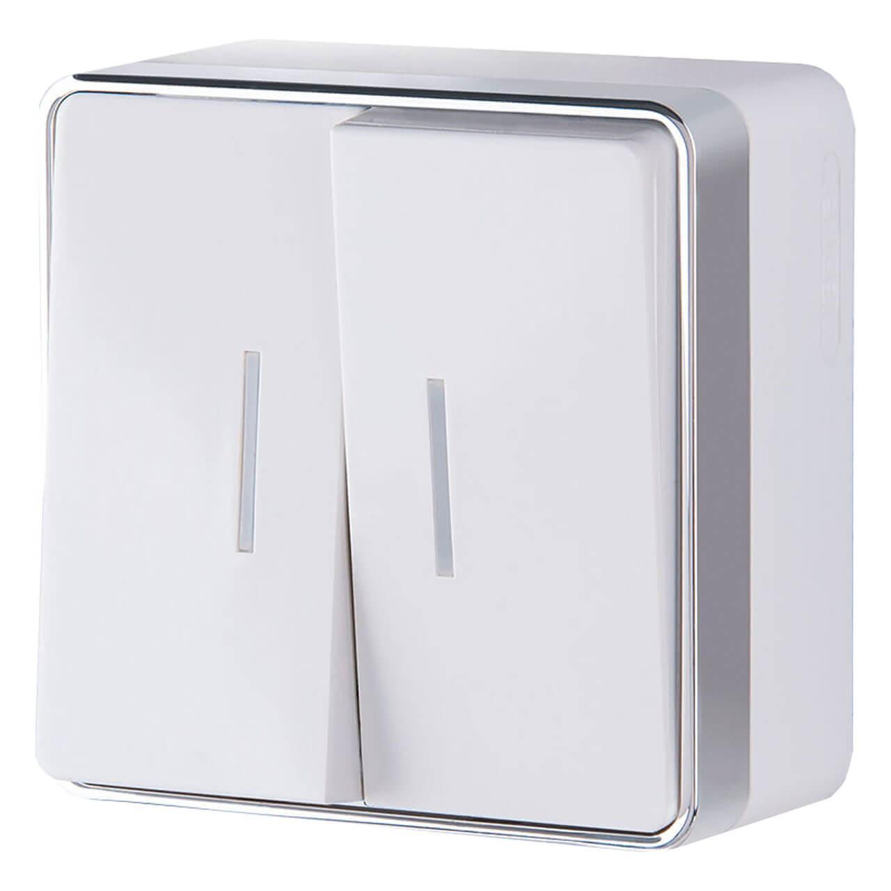 Выключатель Werkel двухклавишный с подсветкой Gallant белый WL15-03-03 4690389102073