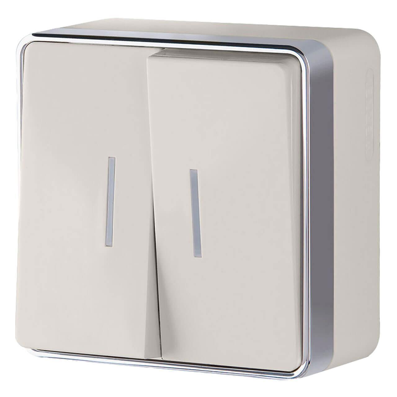 Выключатель Werkel двухклавишный с подсветкой Gallant слоновая кость WL15-03-03 4690389102202
