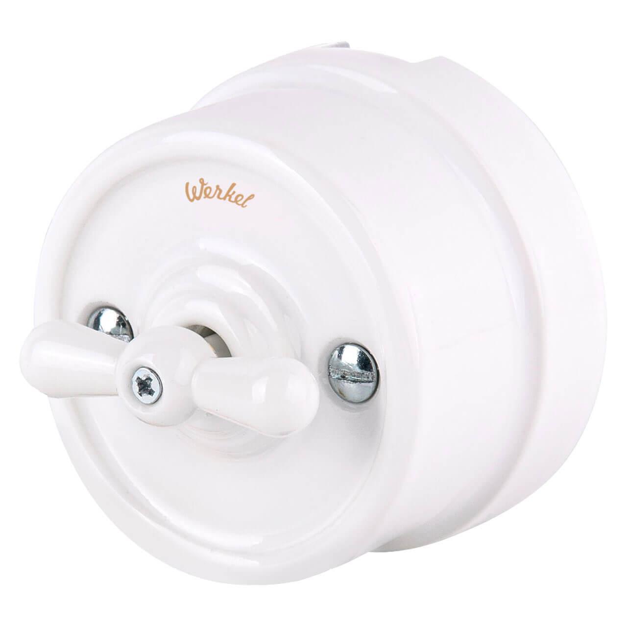 Выключатель Werkel на 4 положения двухклавишный Retro белый WL18-01-05 4690389100581