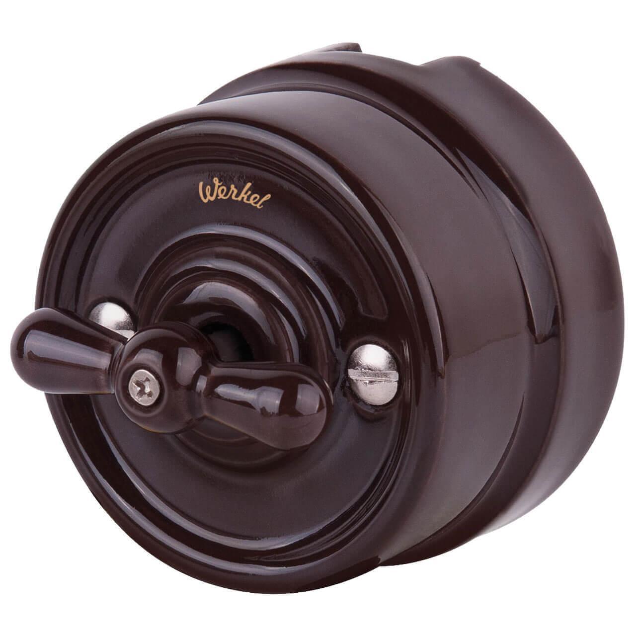 Выключатель Werkel на 4 положения двухклавишный Retro коричневый WL18-01-05 4690389100666