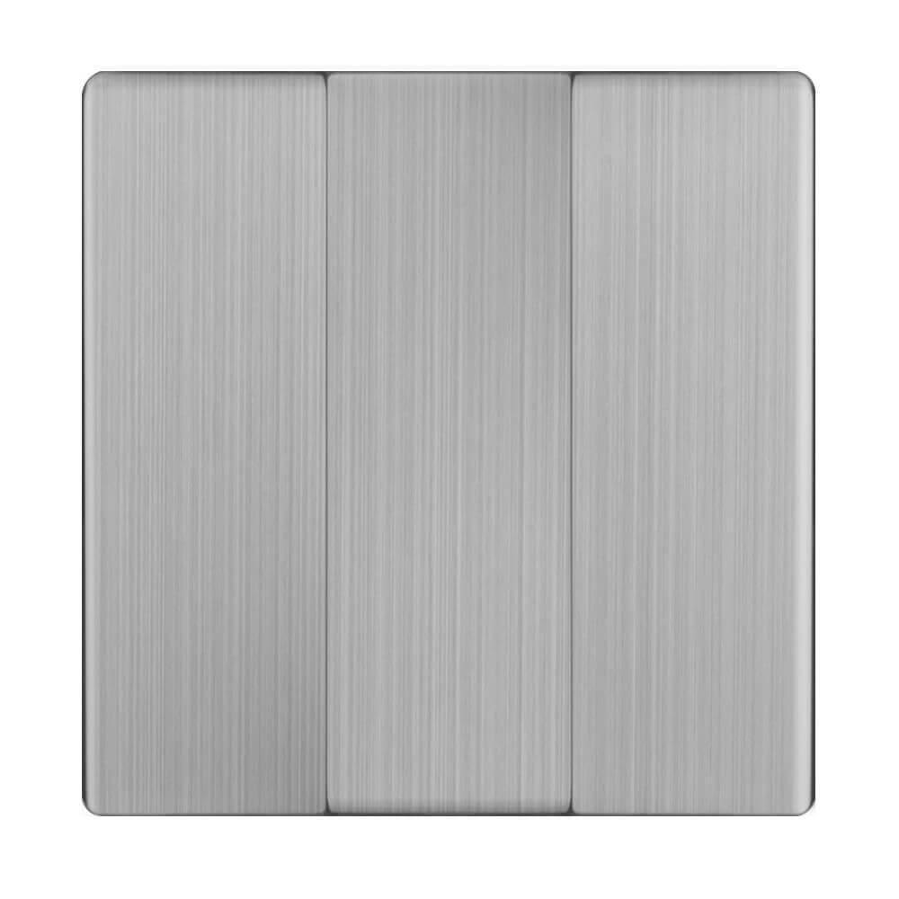 Лицевая панель Werkel выключателя трехклавишного cеребряный рифленый WL09-SW-3G-CP 4690389100345