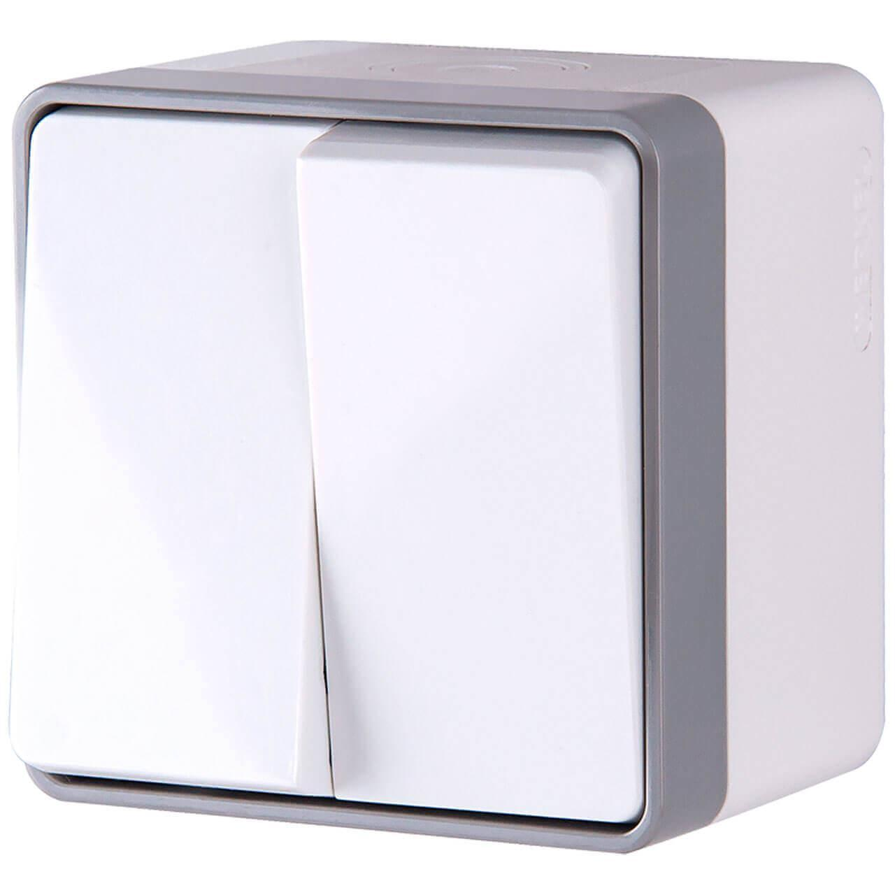Выключатель Werkel двухклавишный влагозащищенный Gallant белый WL15-03-02 4690389102141