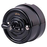 Выключатель Werkel на 4 положения двухклавишный Retro черный WL18-01-05 4690389100741