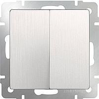 Выключатель Werkel двухклавишный проходной перламутровый рифленый WL13-SW-2G-2W 4690389124426
