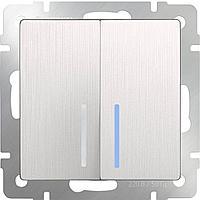 Выключатель Werkel двухклавишный проходной с подсветкой WL13-SW-2G-2W-LED 4690389124433