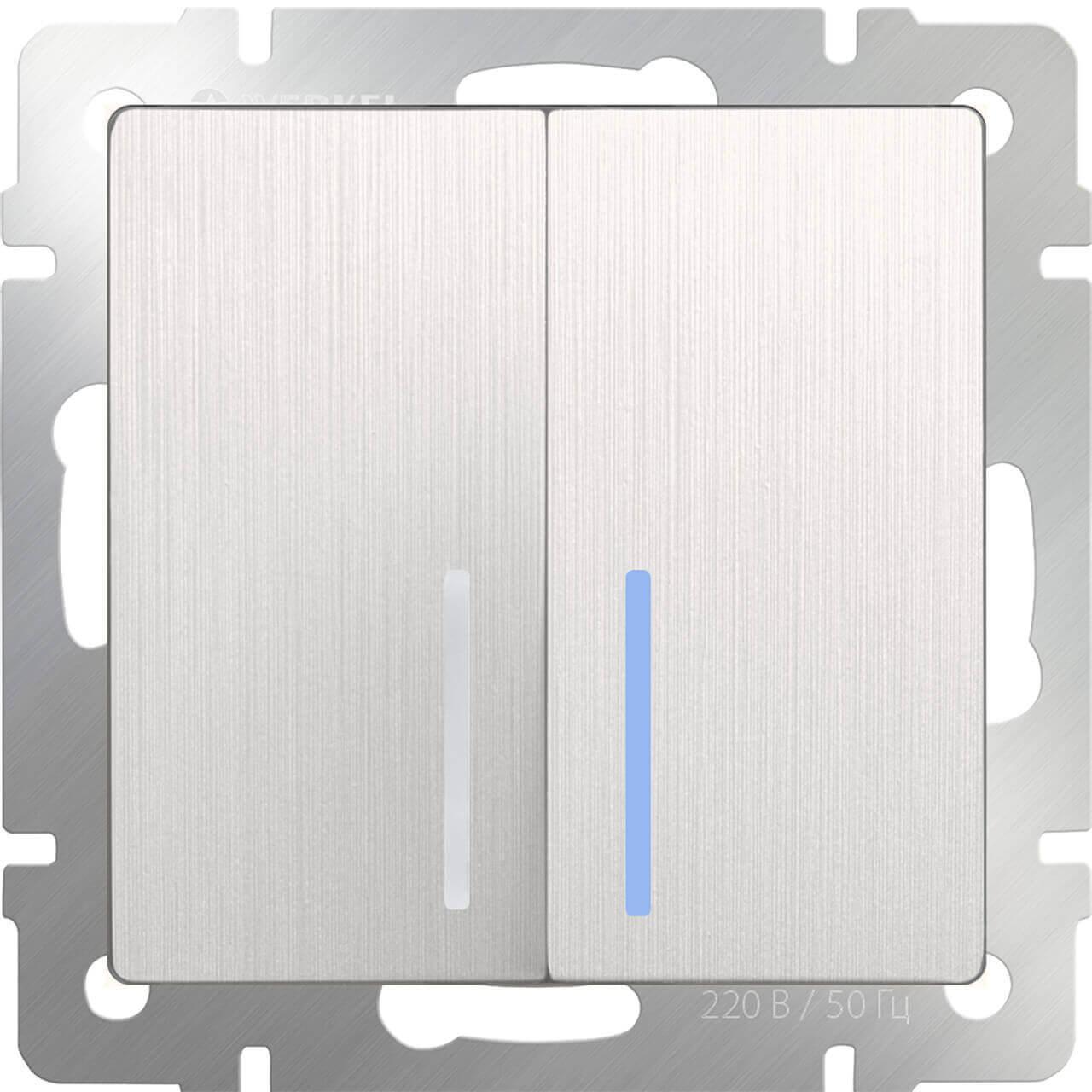 Выключатель Werkel двухклавишный с подсветкой перламутровый рифленый WL13-SW-2G-LED 4690389124440