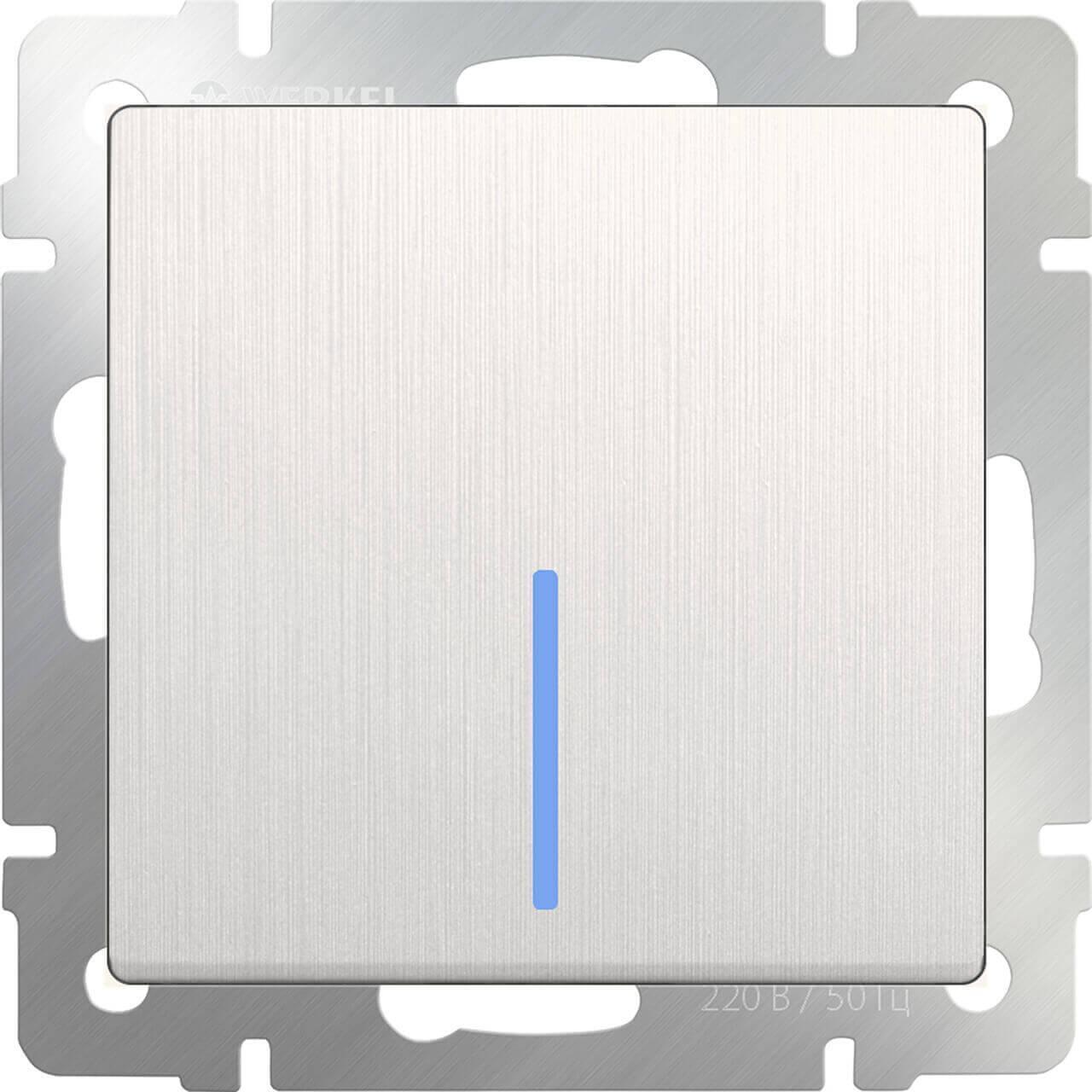 Выключатель Werkel одноклавишный с подсветкой перламутровый рифленый WL13-SW-1G-LED 4690389124402