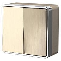 Выключатель двухклавишный Werkel Gallant шампань рифленый WL15-03-01 4690389129667