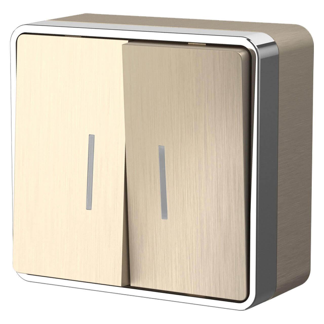 Выключатель двухклавишный с подсветкой Werkel Gallant шампань рифленый WL15-03-03 4690389129681