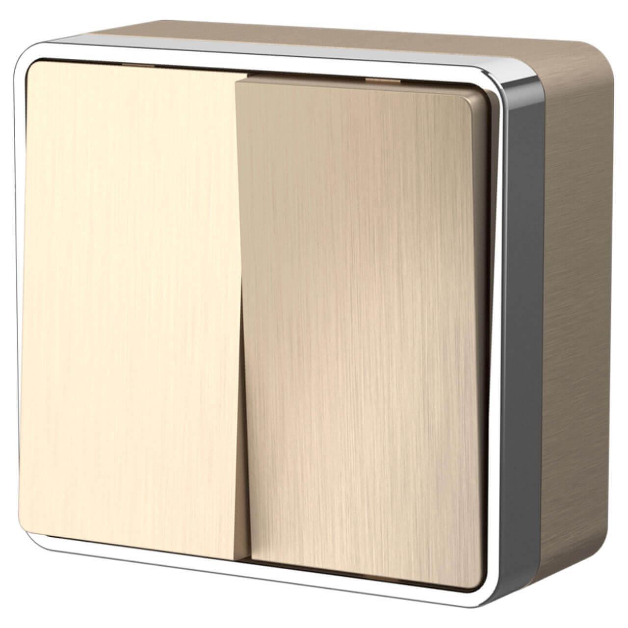 Выключатель двухклавишный влагозащищенный Werkel Gallant шампань рифленый WL15-03-02 4690389129674