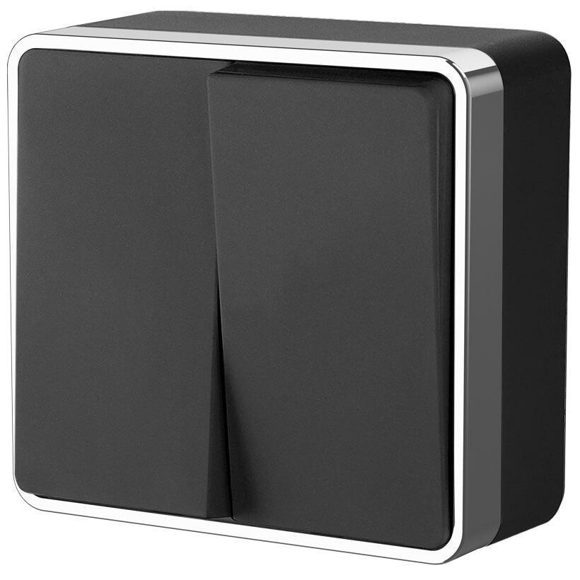 Выключатель двухклавишный Werkel Gallant черный/хром WL15-03-01 4690389130281