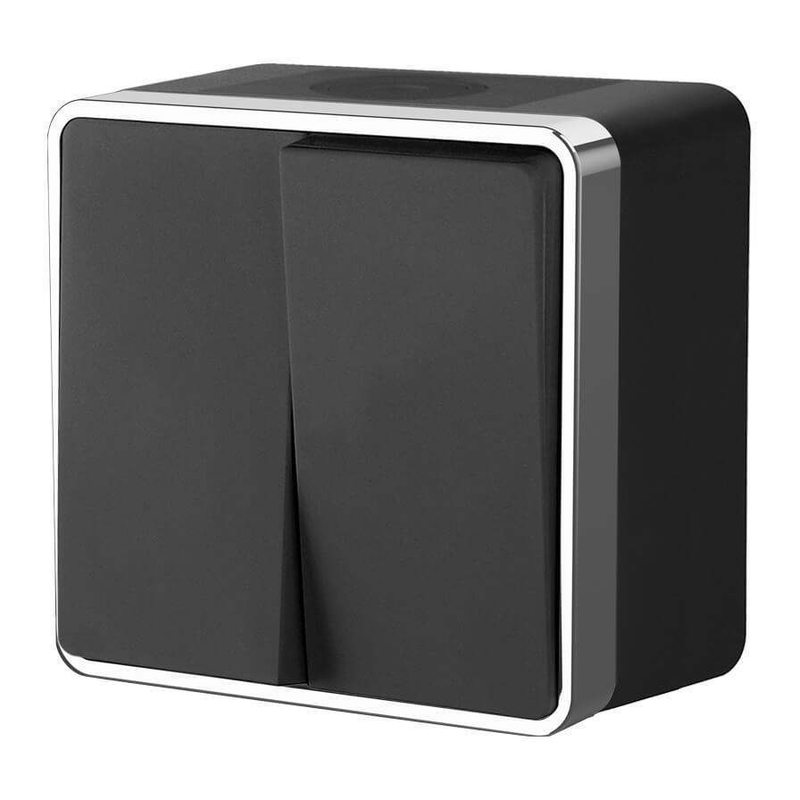 Выключатель двухклавишный влагозащищенный Werkel Gallant черный/хром WL15-03-02 4690389130298