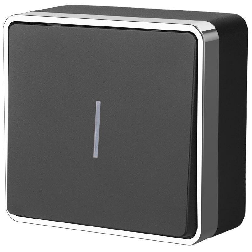 Выключатель одноклавишный с подсветкой Werkel Gallant черный/хром WL15-01-04 4690389130236