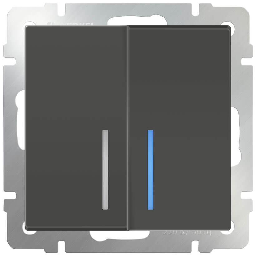Выключатель двухклавишный с подсветкой Werkel серо-коричневый WL07-SW-2G-LED 4690389086717
