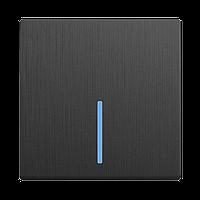 Выключатель Werkel одноклавишный проходной с подсветкой Графит рифленый WL04-SW-1G-2W-LED 4690389146046