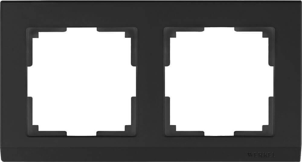 Рамка Werkel Stark на 2 поста черный WL04-Frame-02-silver/black 4690389048845