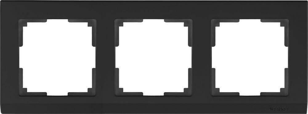 Рамка Werkel Stark на 3 поста черный WL04-Frame-03-silver/black 4690389048852
