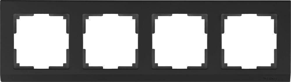 Рамка Werkel Stark на 4 поста черный WL04-Frame-04-silver/black 4690389048869