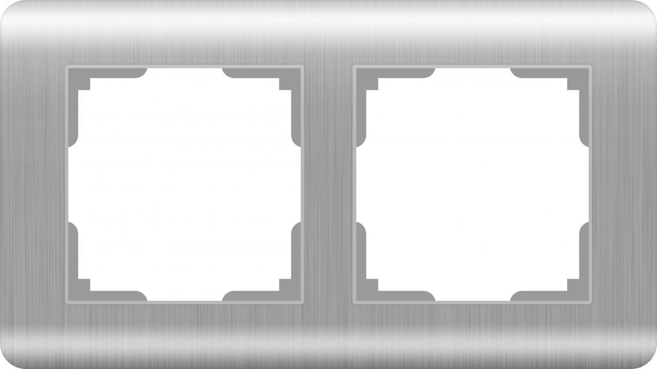 Рамка Werkel Stream на 2 поста серебряный WL12-Frame-02 4690389076374