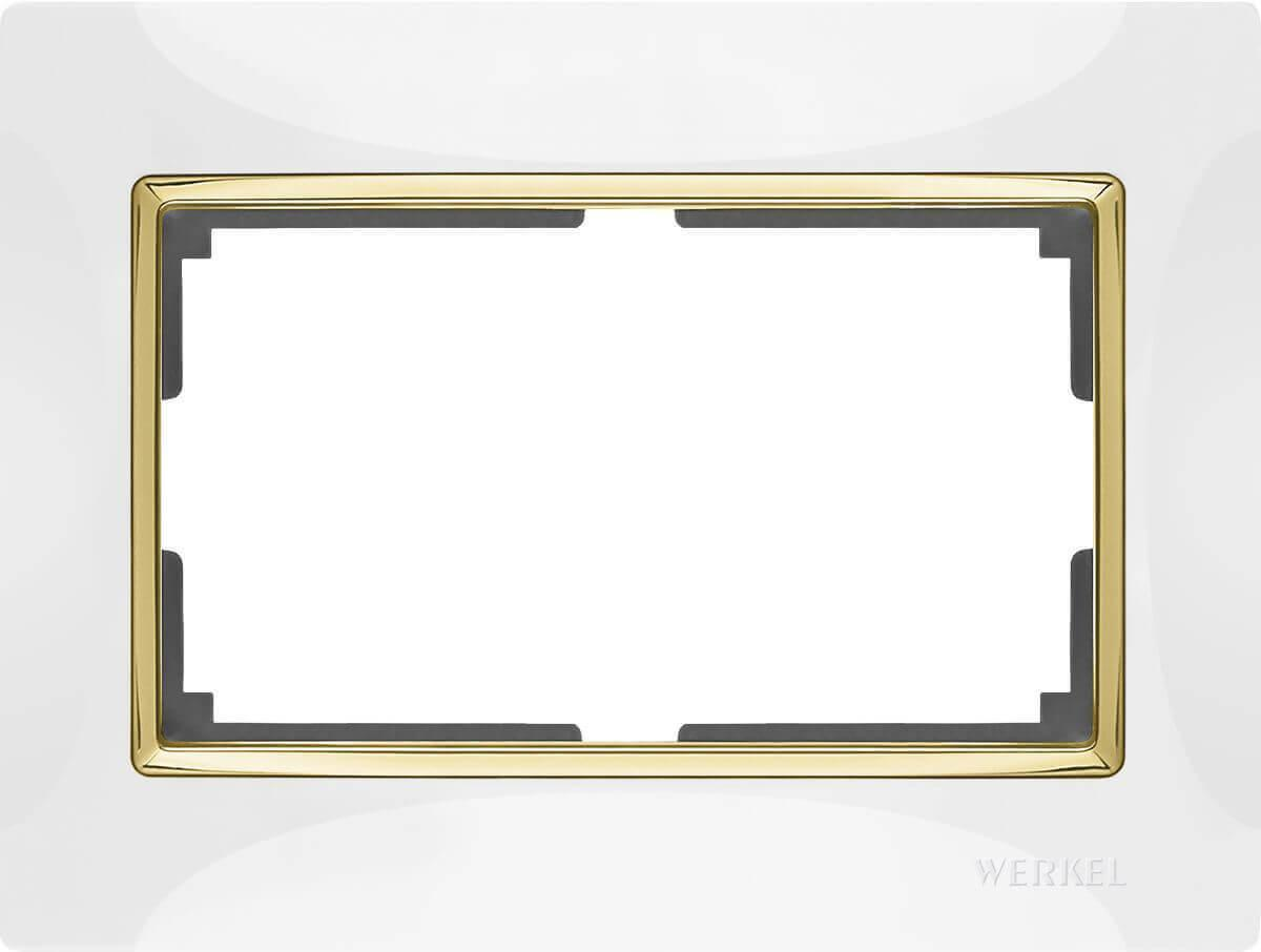 Рамка Werkel Snabb для двойной розетки белый/золото WL03-Frame-01-DBL-white/GD 4690389083846