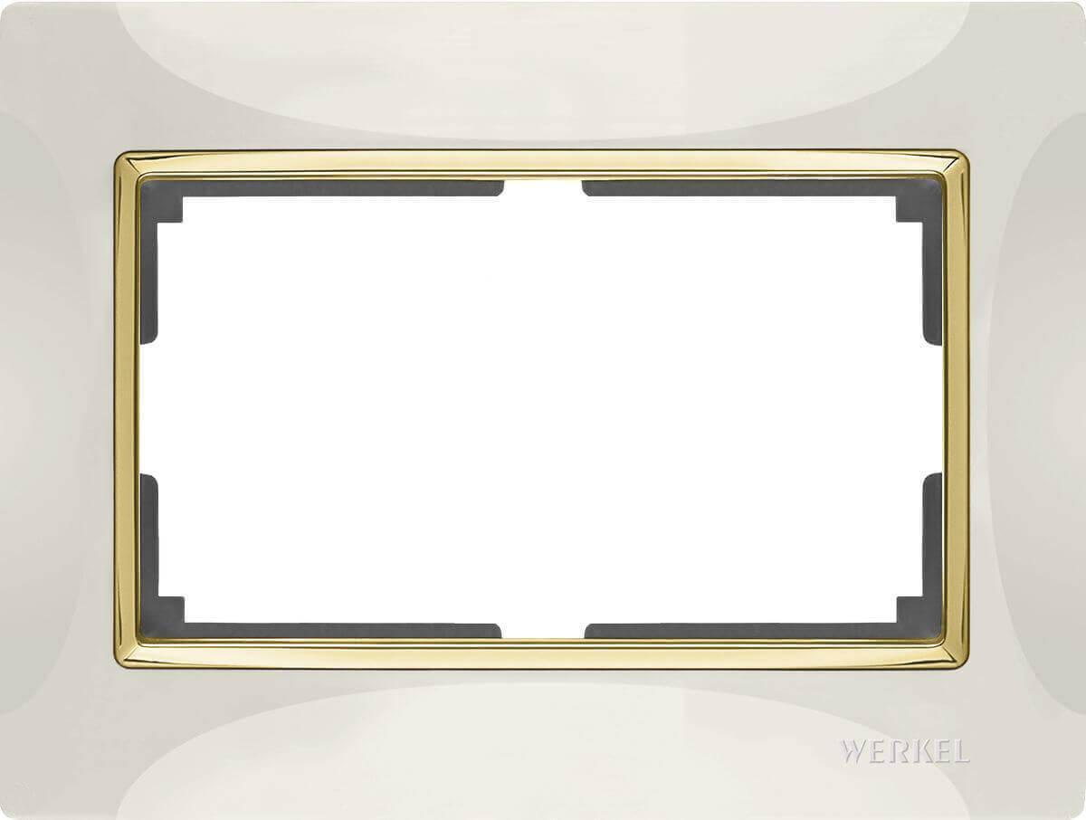Рамка Werkel Snabb для двойной розетки слоновая кость/золото WL03-Frame-01-DBL-ivory/GD 4690389083853