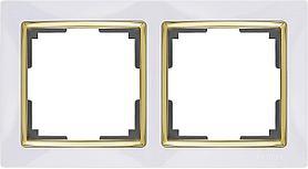 Рамка Werkel Snabb на 2 поста белый/золото WL03-Frame-02-white/GD 4690389083884