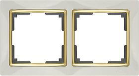 Рамка Werkel Snabb на 2 поста слоновая кость/золото WL03-Frame-02-ivory/GD 4690389083891