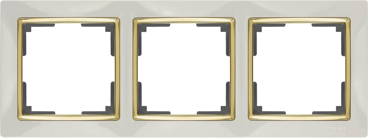 Рамка Werkel Snabb на 3 поста слоновая кость/золото WL03-Frame-03-ivory/GD 4690389083907