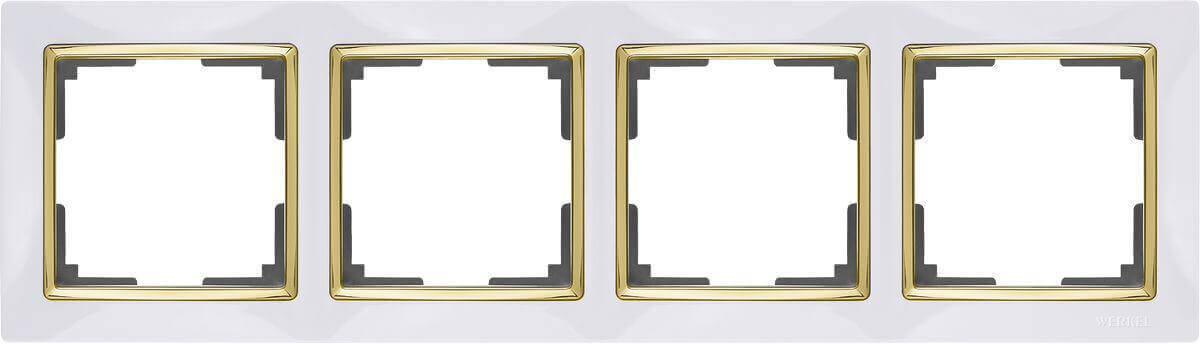 Рамка Werkel Snabb на 4 поста белый/золото WL03-Frame-04-white/GD 4690389083938