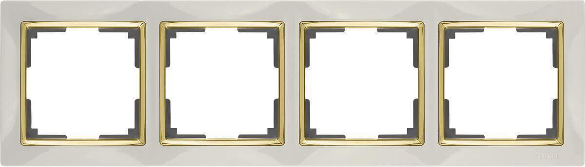 Рамка Werkel Snabb на 4 поста слоновая кость/золото WL03-Frame-04-ivory/GD 4690389083914
