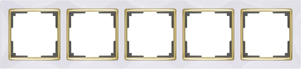 Рамка Werkel Snabb на 5 постов белый/золото WL03-Frame-05-white/GD 4690389083952