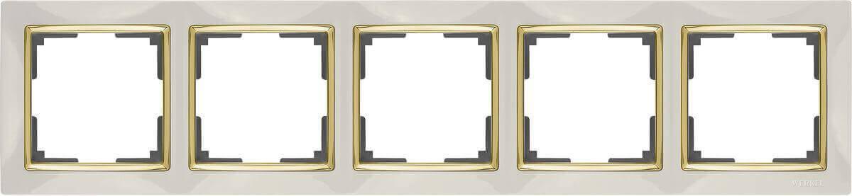 Рамка Werkel Snabb на 5 постов слоновая кость/золото WL03-Frame-05-ivory/GD 4690389083945