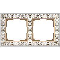 Рамка Werkel Antik на 2 поста белое золото WL07-Frame-01 4690389099182