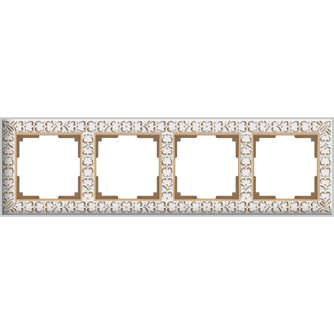 Рамка Werkel Antik на 4 поста белое золото WL07-Frame-01 4690389099205
