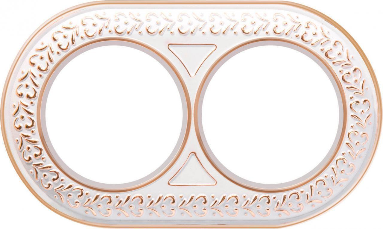 Рамка Werkel Antik Runda на 2 поста белое золото WL70-frame-02 4690389106507