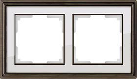 Рамка Werkel Palacio на 2 поста бронза/белый WL17-Frame-02 4690389103605