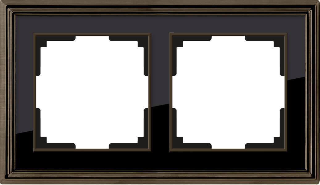 Рамка Werkel Palacio на 2 поста бронза/черный WL17-Frame-02 4690389103612