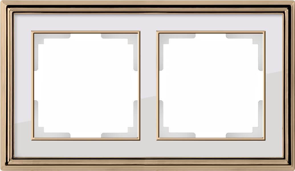 Рамка Werkel Palacio на 2 поста золото/белый WL17-Frame-02 4690389103629