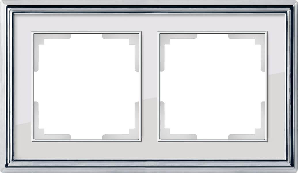 Рамка Werkel Palacio на 2 поста хром/белый WL17-Frame-02 4690389108105