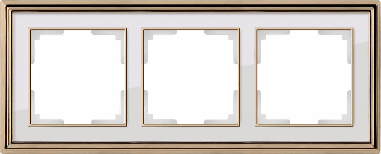 Рамка Werkel Palacio на 3 поста золото/белый WL17-Frame-03 4690389103674