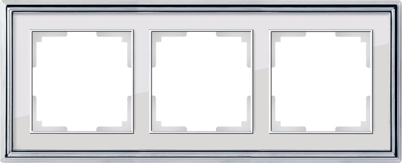 Рамка Werkel Palacio на 3 поста хром/белый WL17-Frame-03 4690389108112
