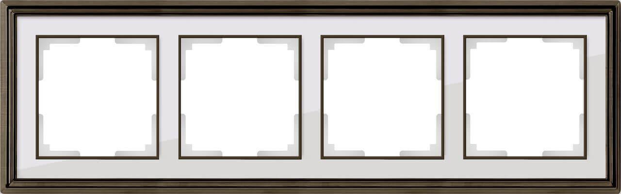 Рамка Werkel Palacio на 4 поста бронза/белый WL17-Frame-04 4690389103704