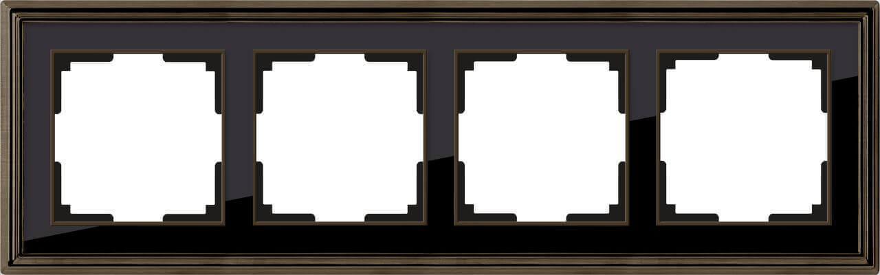 Рамка Werkel Palacio на 4 поста бронза/черный WL17-Frame-04 4690389103711