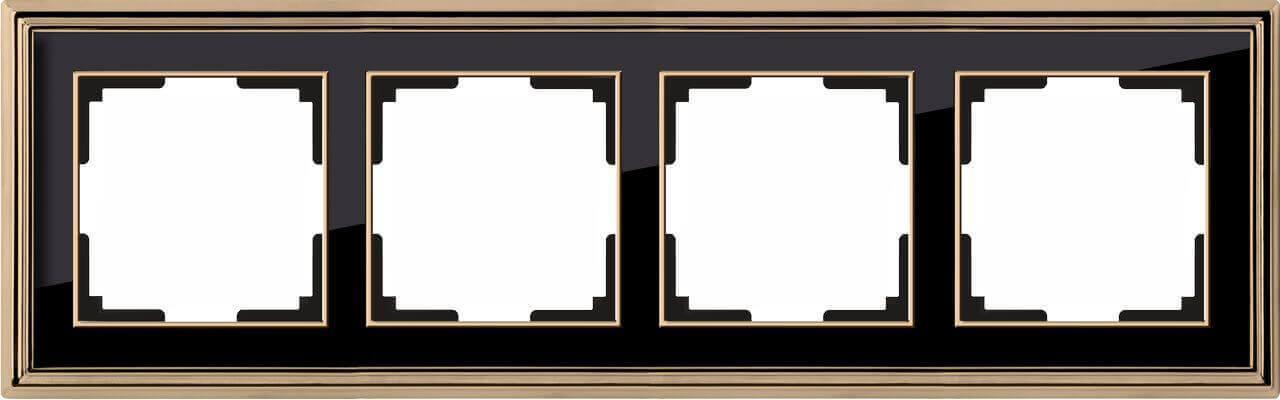 Рамка Werkel Palacio на 4 поста золото/черный WL17-Frame-04 4690389103735