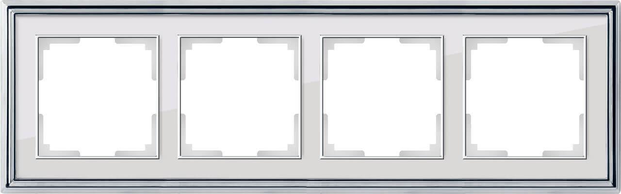 Рамка Werkel Palacio на 4 поста хром/белый WL17-Frame-04 4690389108129